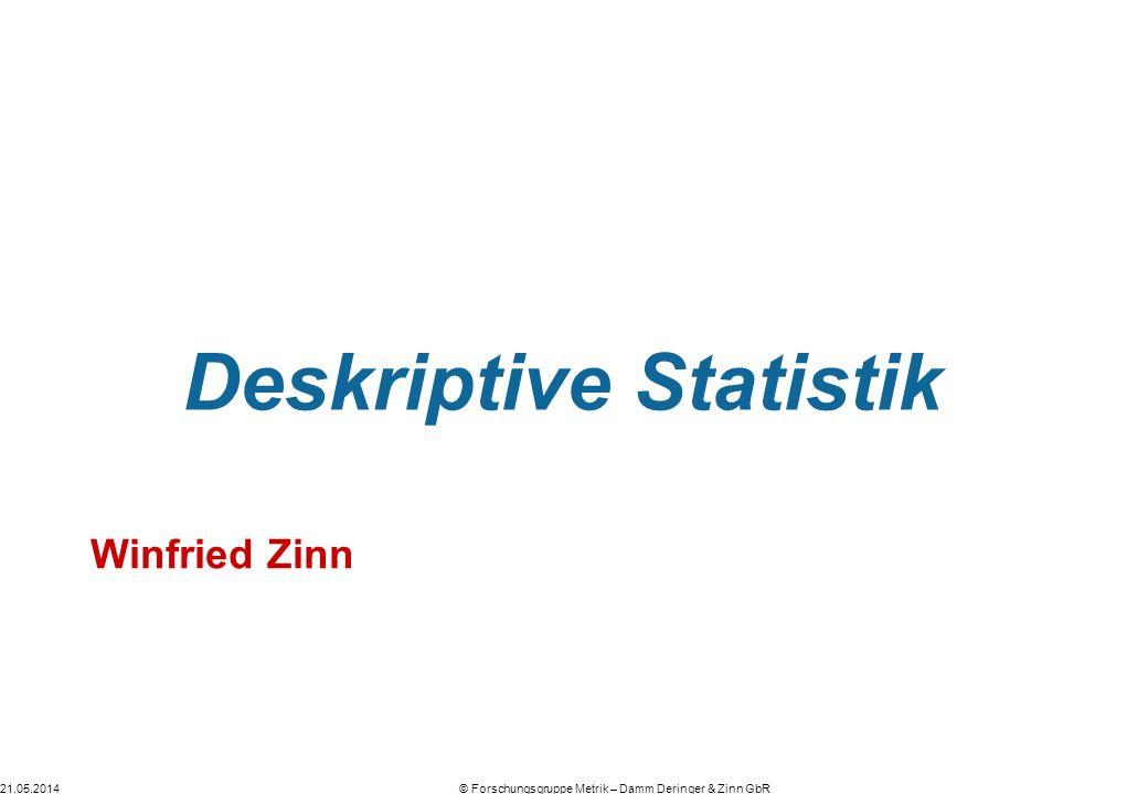 21.05.2014© Forschungsgruppe Metrik – Damm Deringer & Zinn GbR Deskriptive Statistik Winfried Zinn