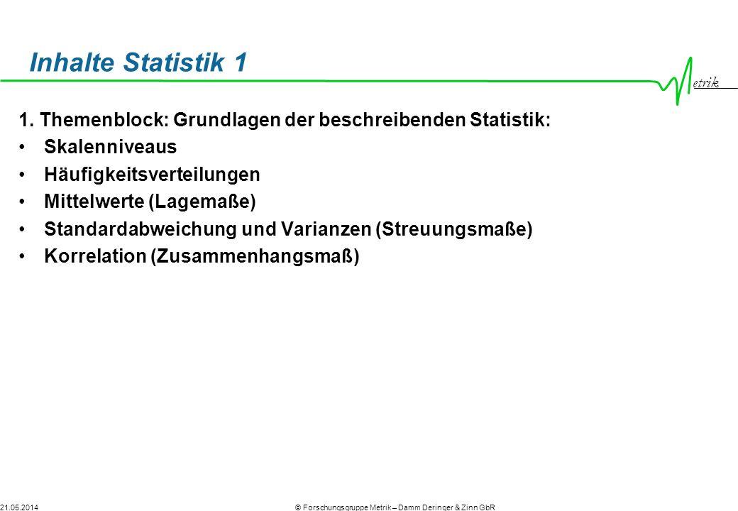 etrik © Forschungsgruppe Metrik – Damm Deringer & Zinn GbR21.05.2014 Inhalte Statistik 1 1. Themenblock: Grundlagen der beschreibenden Statistik: Skal
