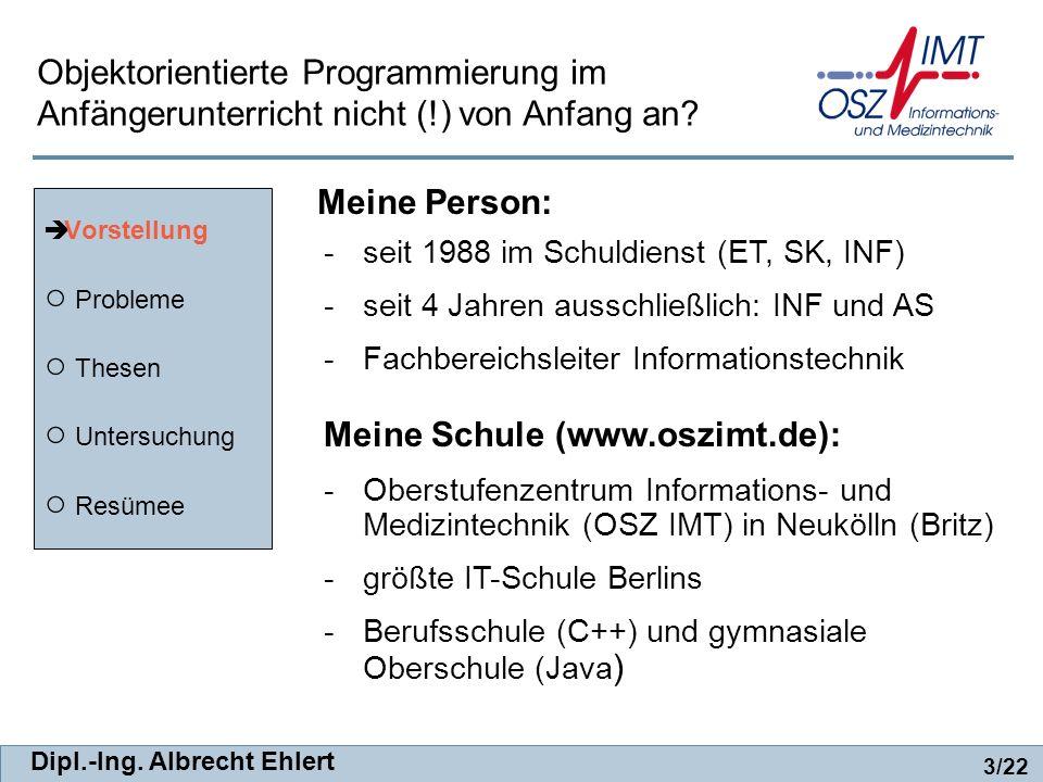 Dipl.-Ing. Albrecht Ehlert -seit 1988 im Schuldienst (ET, SK, INF) -seit 4 Jahren ausschließlich: INF und AS -Fachbereichsleiter Informationstechnik M