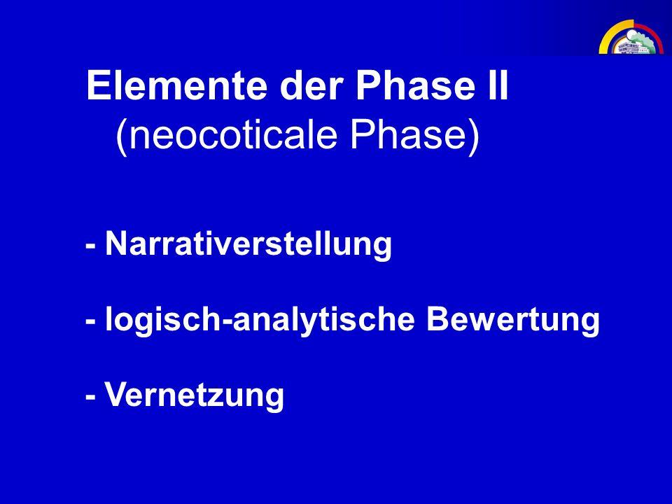 Elemente der Phase II (neocoticale Phase) - logisch-analytische Bewertung - Vernetzung - Narrativerstellung