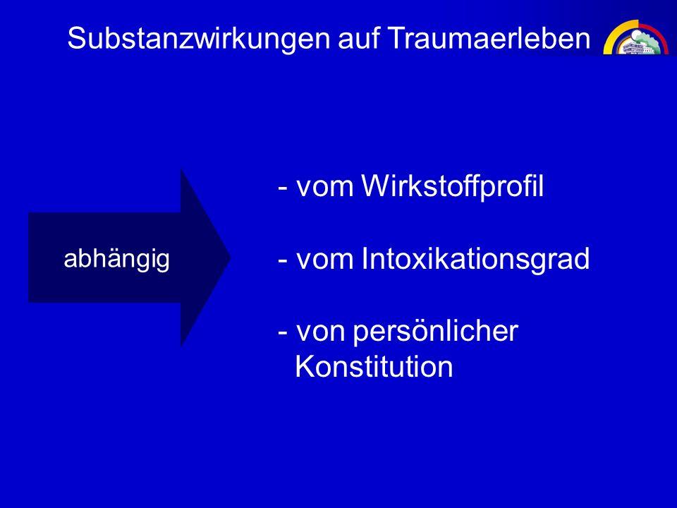 Substanzwirkungen auf Traumaerleben abhängig - vom Wirkstoffprofil - vom Intoxikationsgrad - von persönlicher Konstitution