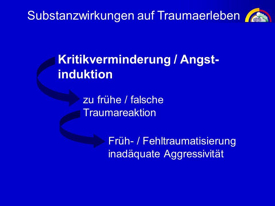 Substanzwirkungen auf Traumaerleben Kritikverminderung / Angst- induktion zu frühe / falsche Traumareaktion Früh- / Fehltraumatisierung inadäquate Agg