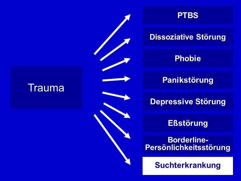 PTBS Dissoziative Störung Phobie Panikstörung Depressive Störung Eßstörung Borderline- Persönlichkeitsstörung Suchterkrankung