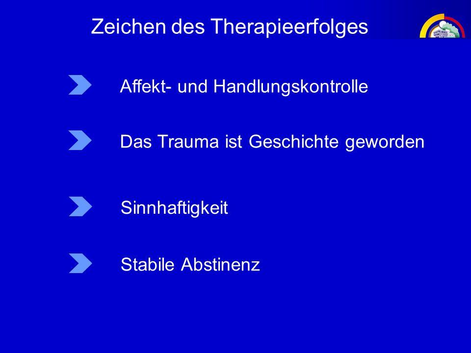 Affekt- und Handlungskontrolle Das Trauma ist Geschichte geworden Sinnhaftigkeit Zeichen des Therapieerfolges Stabile Abstinenz