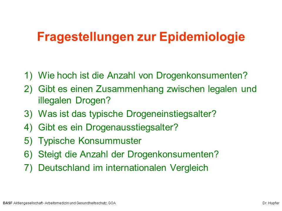BASF Aktiengesellschaft - Arbeitsmedizin und Gesundheitsschutz, GOA Dr. Hupfer Fragestellungen zur Epidemiologie 1)Wie hoch ist die Anzahl von Drogenk
