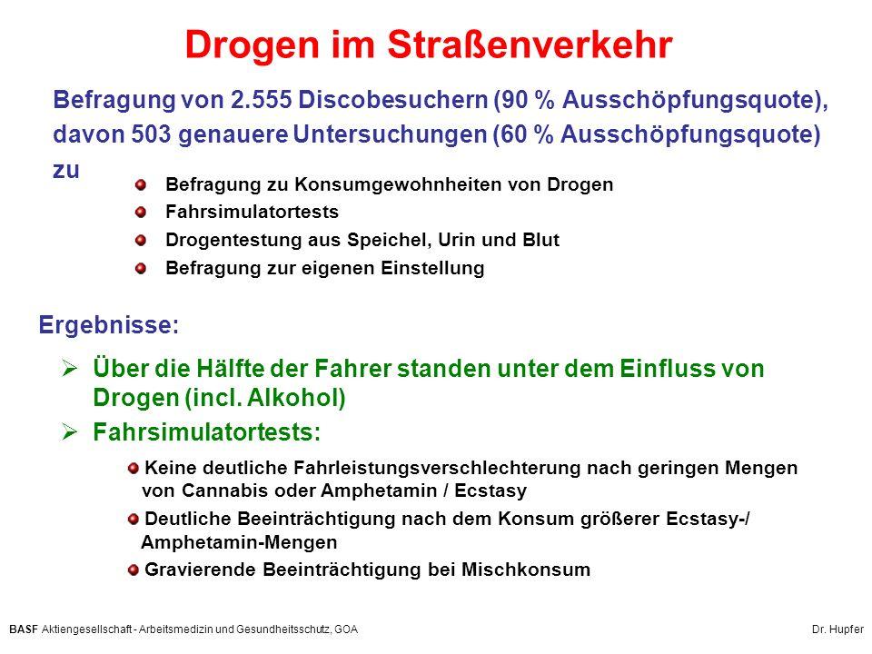 BASF Aktiengesellschaft - Arbeitsmedizin und Gesundheitsschutz, GOA Dr. Hupfer Drogen im Straßenverkehr Befragung zu Konsumgewohnheiten von Drogen Fah