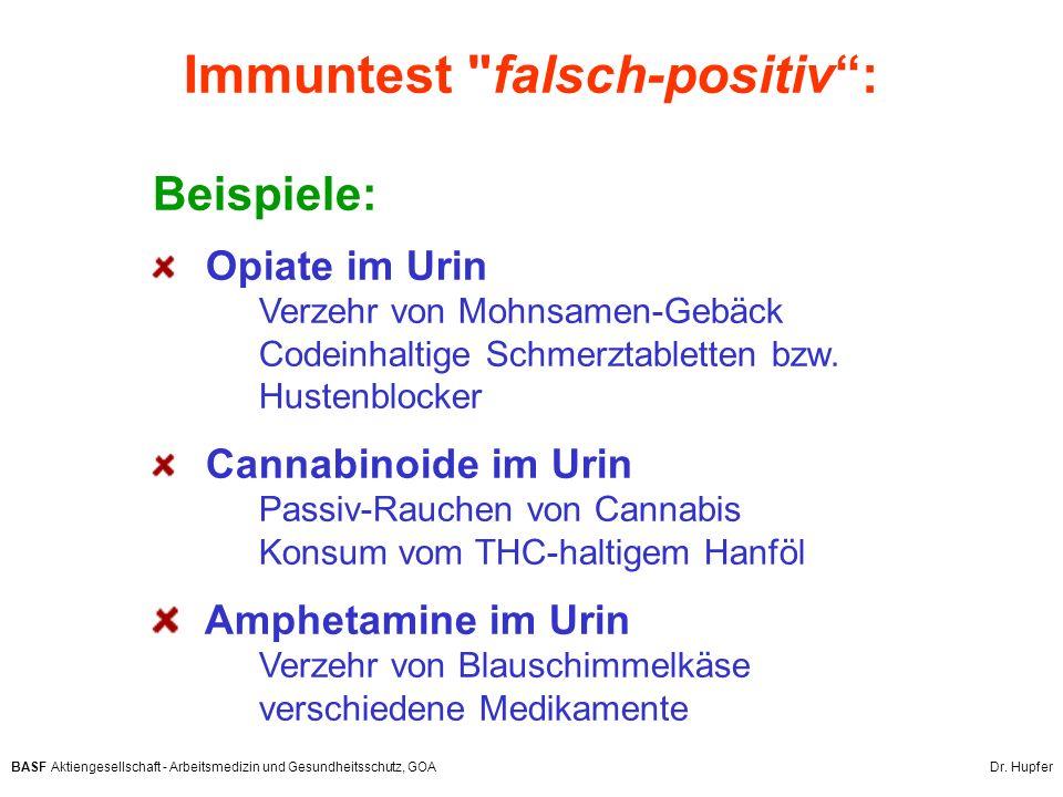 BASF Aktiengesellschaft - Arbeitsmedizin und Gesundheitsschutz, GOA Dr. Hupfer Beispiele: Opiate im Urin Verzehr von Mohnsamen-Gebäck Codeinhaltige Sc