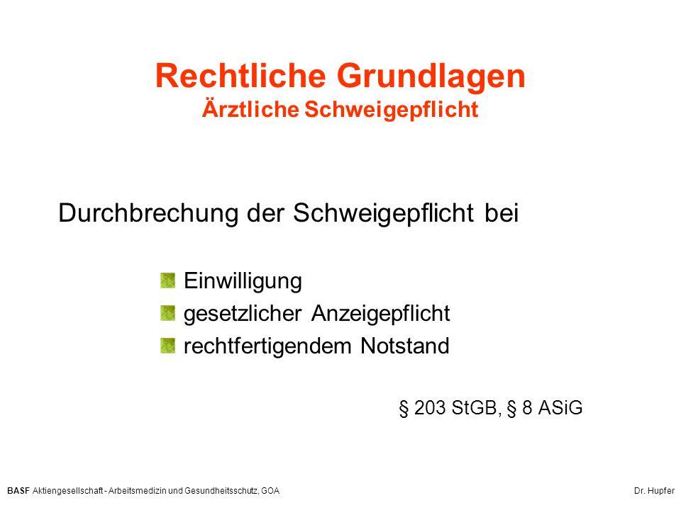 BASF Aktiengesellschaft - Arbeitsmedizin und Gesundheitsschutz, GOA Dr. Hupfer Rechtliche Grundlagen Ärztliche Schweigepflicht Durchbrechung der Schwe