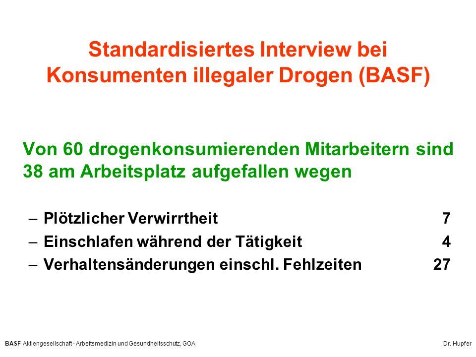 BASF Aktiengesellschaft - Arbeitsmedizin und Gesundheitsschutz, GOA Dr. Hupfer Standardisiertes Interview bei Konsumenten illegaler Drogen (BASF) Von
