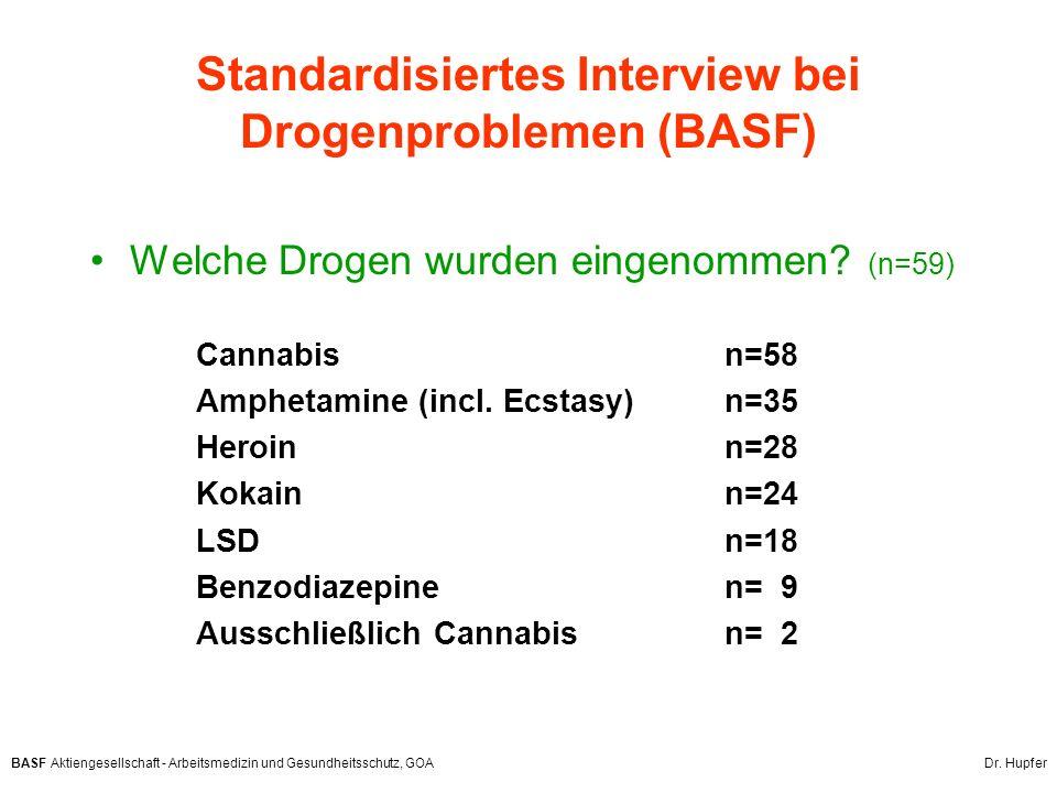 BASF Aktiengesellschaft - Arbeitsmedizin und Gesundheitsschutz, GOA Dr. Hupfer Standardisiertes Interview bei Drogenproblemen (BASF) Welche Drogen wur