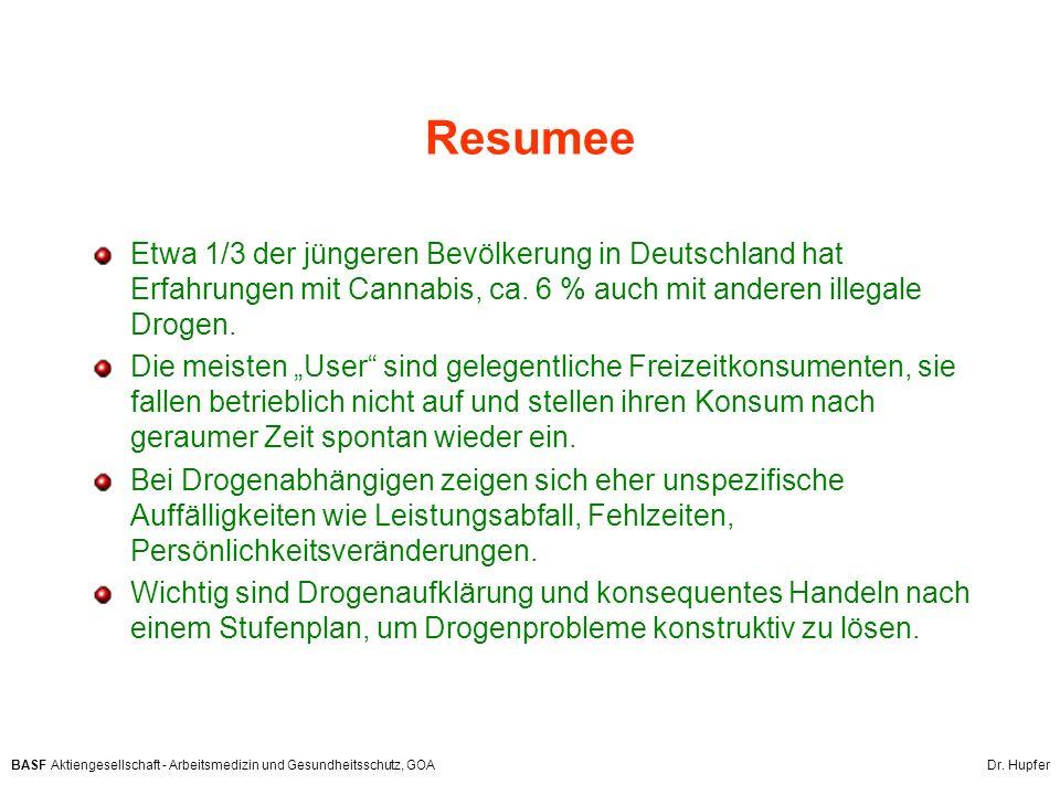 BASF Aktiengesellschaft - Arbeitsmedizin und Gesundheitsschutz, GOA Dr. Hupfer Resumee Etwa 1/3 der jüngeren Bevölkerung in Deutschland hat Erfahrunge