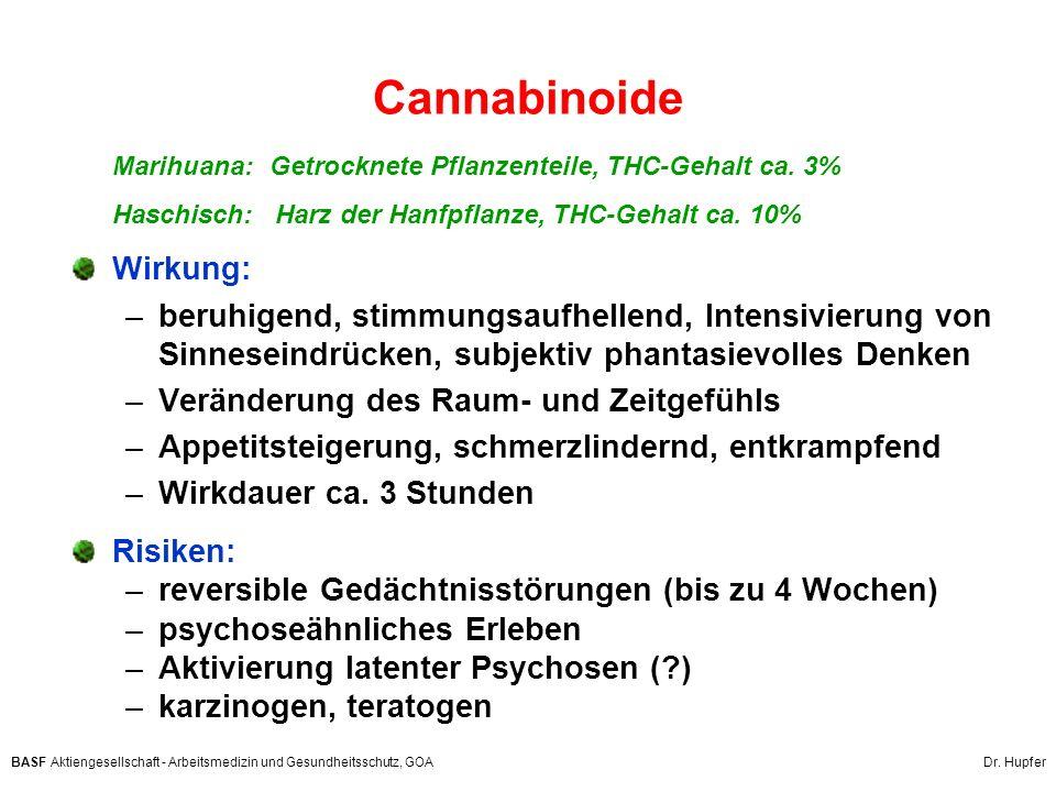 BASF Aktiengesellschaft - Arbeitsmedizin und Gesundheitsschutz, GOA Dr. Hupfer Cannabinoide Marihuana: Getrocknete Pflanzenteile, THC-Gehalt ca. 3% Ha