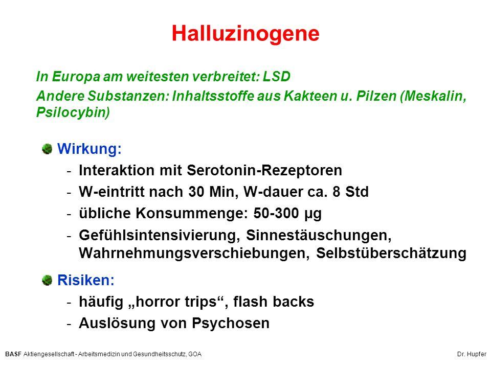 BASF Aktiengesellschaft - Arbeitsmedizin und Gesundheitsschutz, GOA Dr. Hupfer Halluzinogene In Europa am weitesten verbreitet: LSD Andere Substanzen: