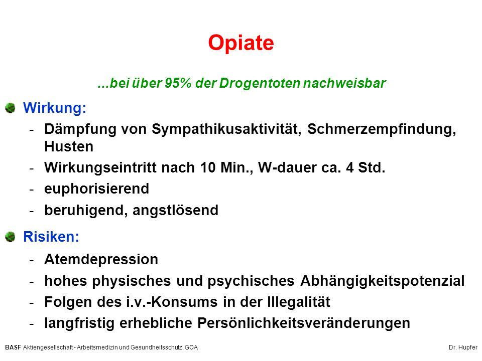 BASF Aktiengesellschaft - Arbeitsmedizin und Gesundheitsschutz, GOA Dr. Hupfer Opiate...bei über 95% der Drogentoten nachweisbar Wirkung: -Dämpfung vo