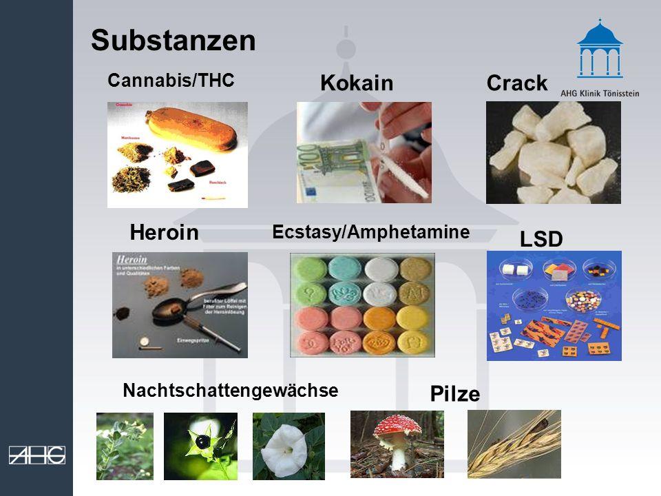 Substanzen CrackKokain Cannabis/THC Heroin Ecstasy/Amphetamine Nachtschattengewächse LSD Pilze
