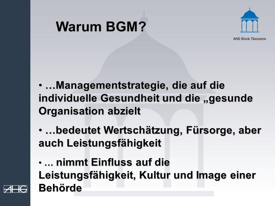 Warum BGM? …Managementstrategie, die auf die individuelle Gesundheit und die gesunde Organisation abzielt …Managementstrategie, die auf die individuel