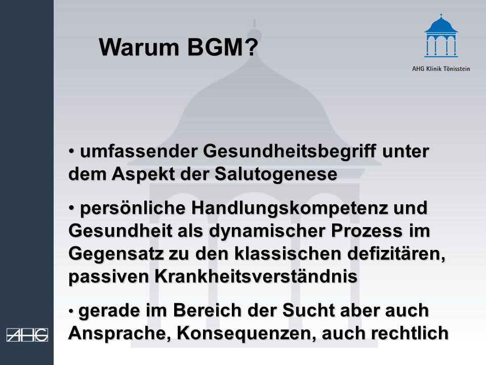 Warum BGM? umfassender Gesundheitsbegriff unter dem Aspekt der Salutogenese umfassender Gesundheitsbegriff unter dem Aspekt der Salutogenese persönlic