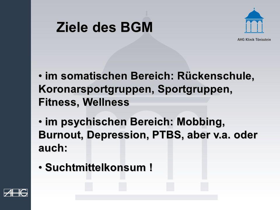 Ziele des BGM im somatischen Bereich: Rückenschule, Koronarsportgruppen, Sportgruppen, Fitness, Wellness im somatischen Bereich: Rückenschule, Koronar
