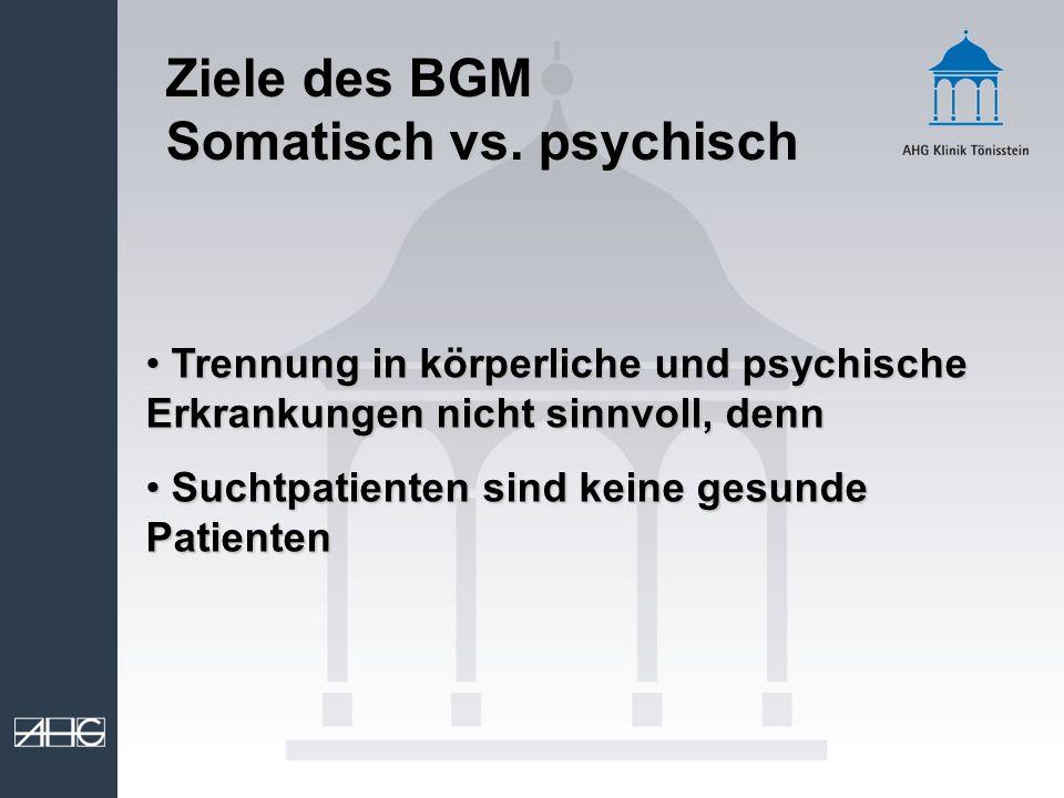 Ziele des BGM Somatisch vs. psychisch Trennung in körperliche und psychische Erkrankungen nicht sinnvoll, denn Trennung in körperliche und psychische