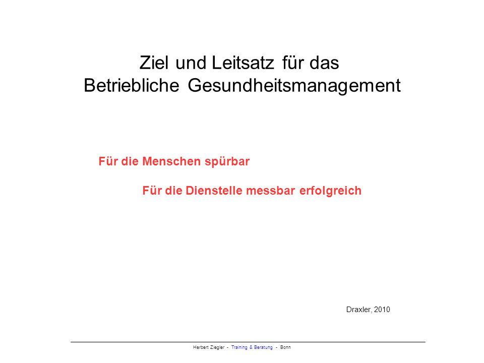 Herbert Ziegler - Training & Beratung - Bonn Ziel und Leitsatz für das Betriebliche Gesundheitsmanagement Für die Menschen spürbar Für die Dienstelle messbar erfolgreich Draxler, 2010