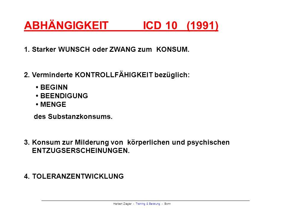 Herbert Ziegler - Training & Beratung - Bonn ABHÄNGIGKEIT ICD 10 (1991) 1.