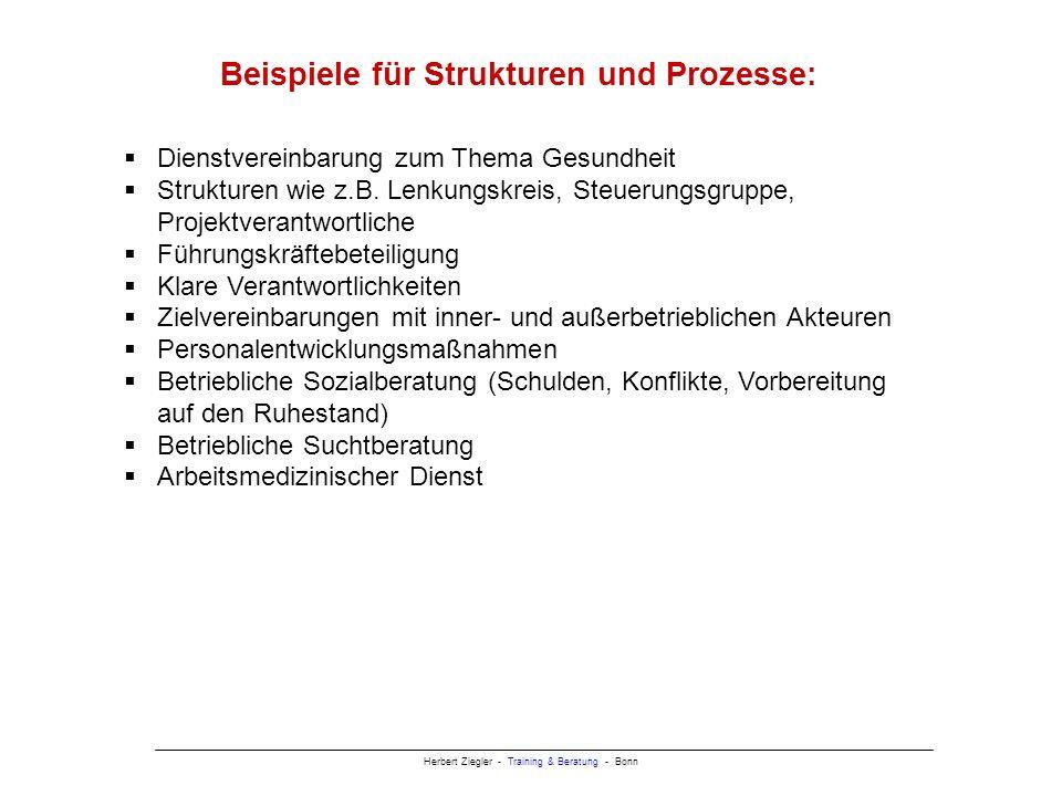 Herbert Ziegler - Training & Beratung - Bonn Beispiele für Strukturen und Prozesse: Dienstvereinbarung zum Thema Gesundheit Strukturen wie z.B.