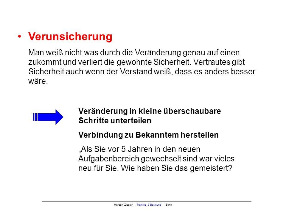 Herbert Ziegler - Training & Beratung - Bonn Verunsicherung Man weiß nicht was durch die Veränderung genau auf einen zukommt und verliert die gewohnte Sicherheit.