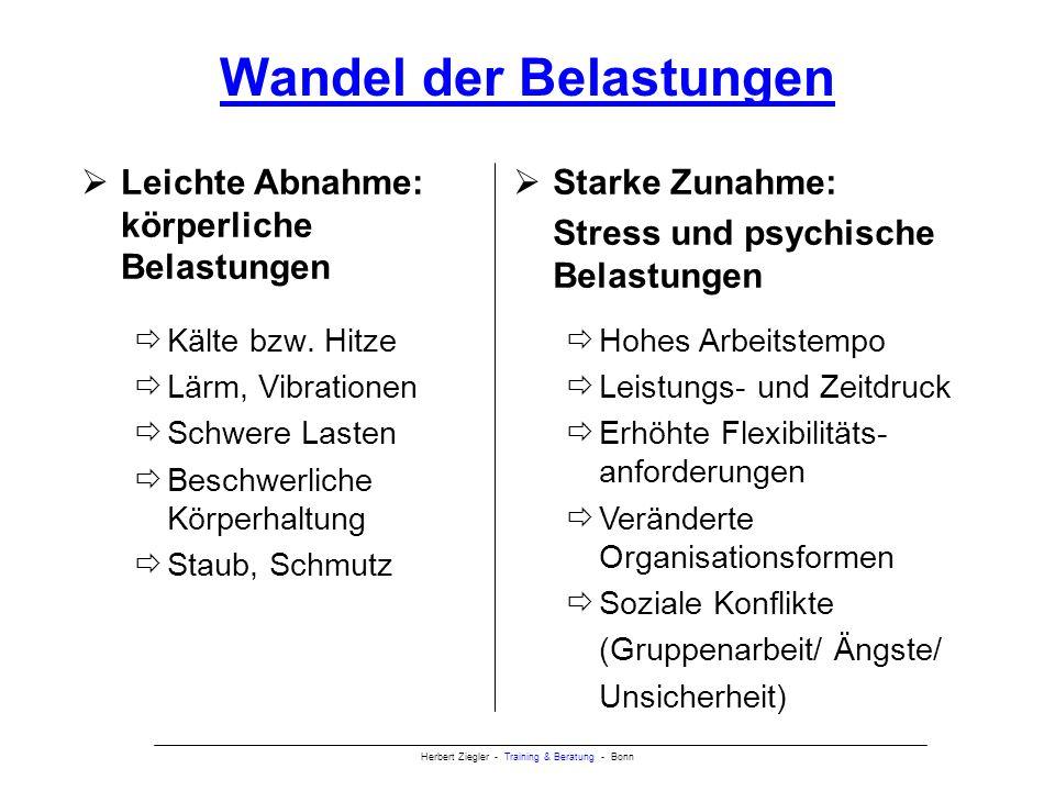 Herbert Ziegler - Training & Beratung - Bonn Ansatzpunkte gesunder Mitarbeiterführung Beanspruchung/Stressfaktoren minimieren wie z.