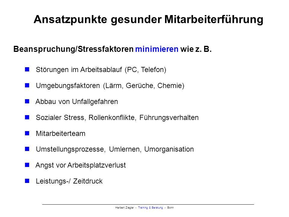 Herbert Ziegler - Training & Beratung - Bonn Ansatzpunkte gesunder Mitarbeiterführung Ressourcen maximieren, wie z.