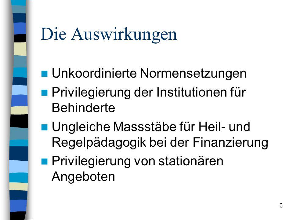3 Die Auswirkungen Unkoordinierte Normensetzungen Privilegierung der Institutionen für Behinderte Ungleiche Massstäbe für Heil- und Regelpädagogik bei der Finanzierung Privilegierung von stationären Angeboten