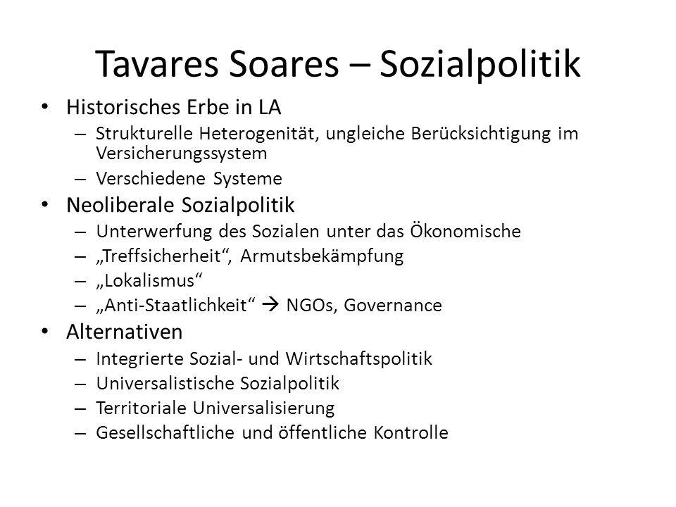 Tavares Soares – Sozialpolitik Historisches Erbe in LA – Strukturelle Heterogenität, ungleiche Berücksichtigung im Versicherungssystem – Verschiedene