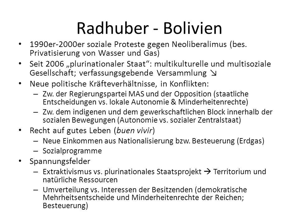 Radhuber - Bolivien 1990er-2000er soziale Proteste gegen Neoliberalimus (bes. Privatisierung von Wasser und Gas) Seit 2006 plurinationaler Staat: mult