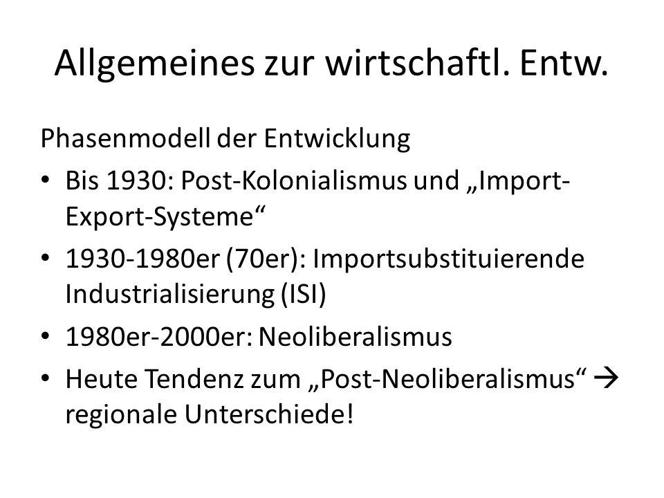 Allgemeines zur wirtschaftl. Entw. Phasenmodell der Entwicklung Bis 1930: Post-Kolonialismus und Import- Export-Systeme 1930-1980er (70er): Importsubs