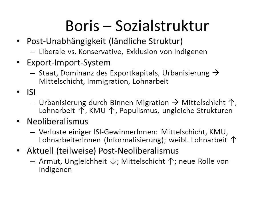 Boris – Sozialstruktur Post-Unabhängigkeit (ländliche Struktur) – Liberale vs. Konservative, Exklusion von Indigenen Export-Import-System – Staat, Dom