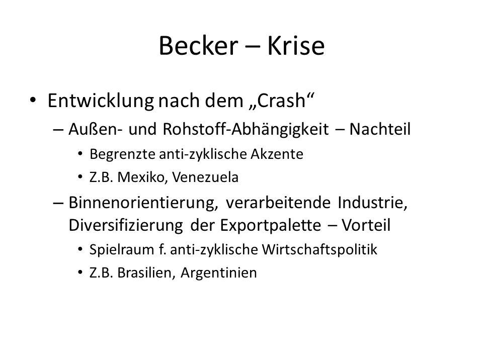 Becker – Krise Entwicklung nach dem Crash – Außen- und Rohstoff-Abhängigkeit – Nachteil Begrenzte anti-zyklische Akzente Z.B. Mexiko, Venezuela – Binn
