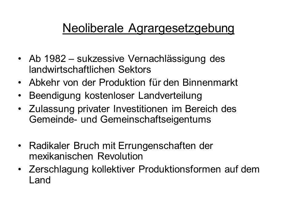 Neoliberale Agrargesetzgebung Ab 1982 – sukzessive Vernachlässigung des landwirtschaftlichen Sektors Abkehr von der Produktion für den Binnenmarkt Bee