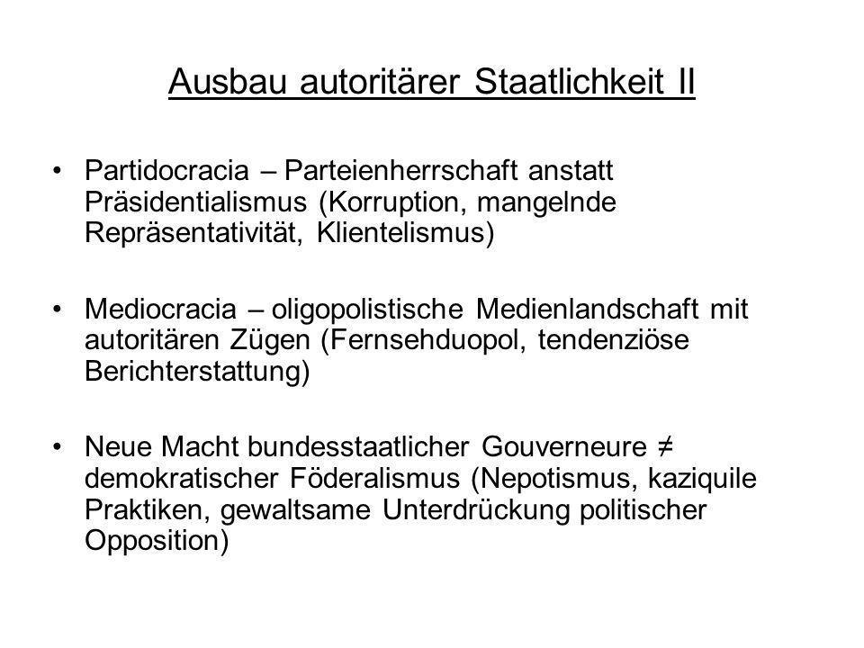 Ausbau autoritärer Staatlichkeit II Partidocracia – Parteienherrschaft anstatt Präsidentialismus (Korruption, mangelnde Repräsentativität, Klientelism