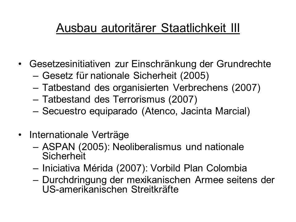 Ausbau autoritärer Staatlichkeit III Gesetzesinitiativen zur Einschränkung der Grundrechte –Gesetz für nationale Sicherheit (2005) –Tatbestand des org