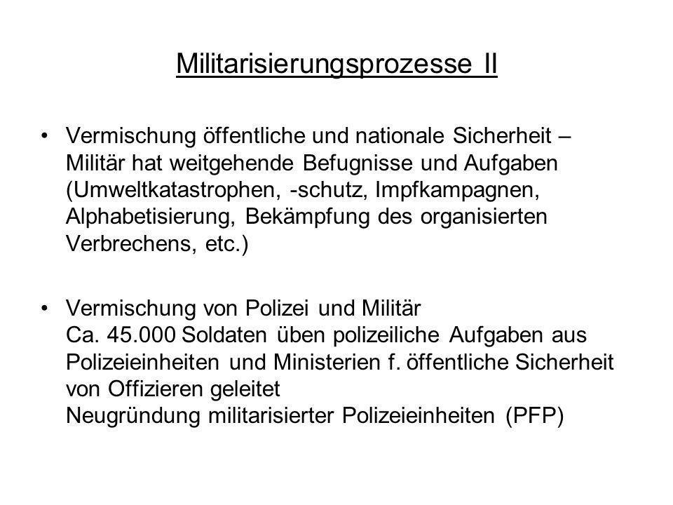 Militarisierungsprozesse II Vermischung öffentliche und nationale Sicherheit – Militär hat weitgehende Befugnisse und Aufgaben (Umweltkatastrophen, -s