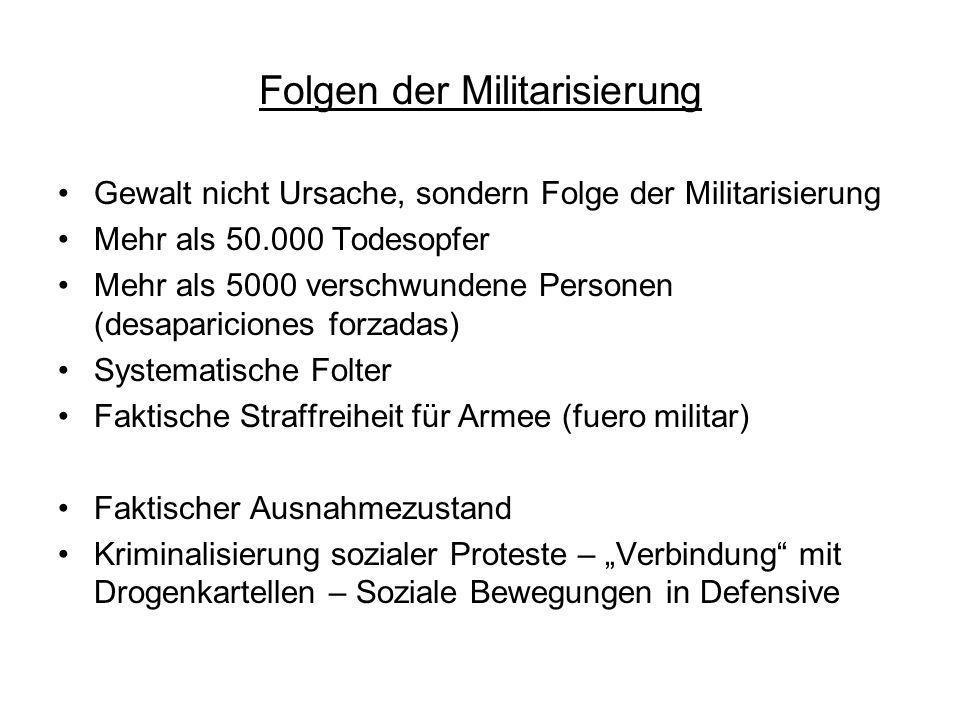 Folgen der Militarisierung Gewalt nicht Ursache, sondern Folge der Militarisierung Mehr als 50.000 Todesopfer Mehr als 5000 verschwundene Personen (de