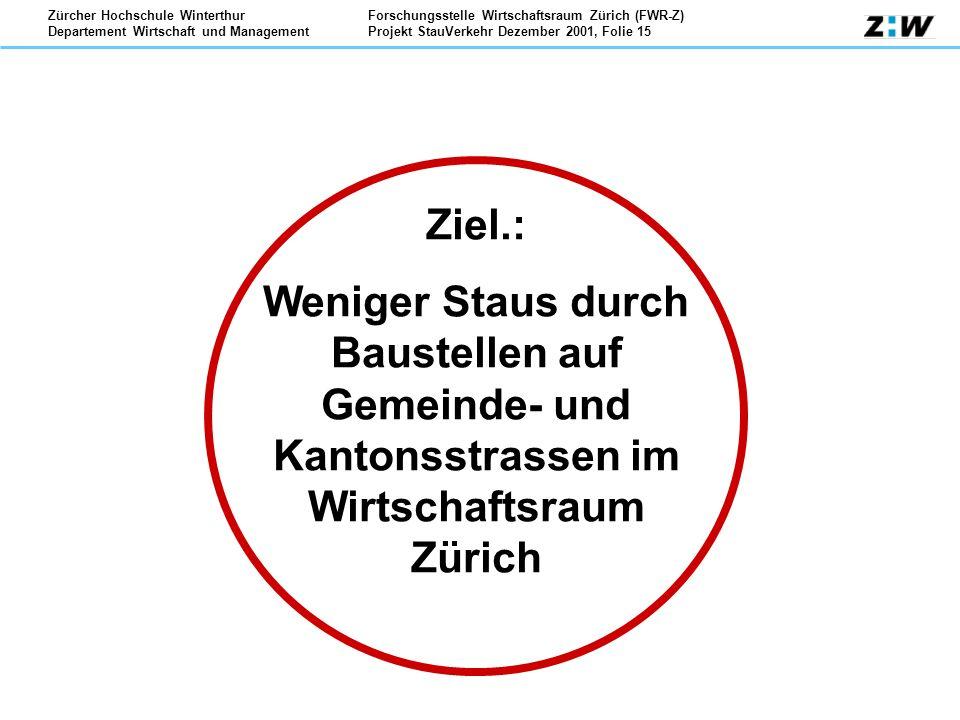 Forschungsstelle Wirtschaftsraum Zürich (FWR-Z) Projekt StauVerkehr Dezember 2001, Folie 15 Zürcher Hochschule Winterthur Departement Wirtschaft und M