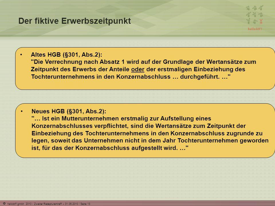 hallobtf! gmbh 2010 / Zweiter Rezepturentreff – 31.05.2010 / Seite 13 Der fiktive Erwerbszeitpunkt Neues HGB (§301, Abs.2):