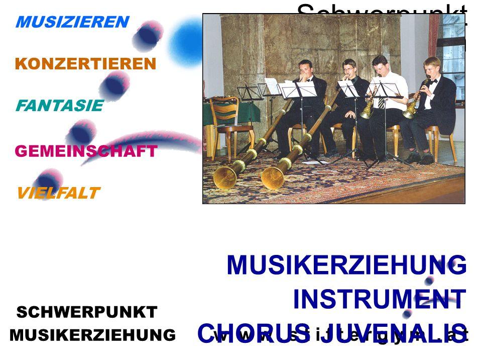 MUSIKERZIEHUNG w w w. s t i f t e r g y m. a t SCHWERPUNKT Schwerpunkt Musikerziehun g MUSIKERZIEHUNG INSTRUMENT CHORUS JUVENALIS VIELFALT GEMEINSCHAF