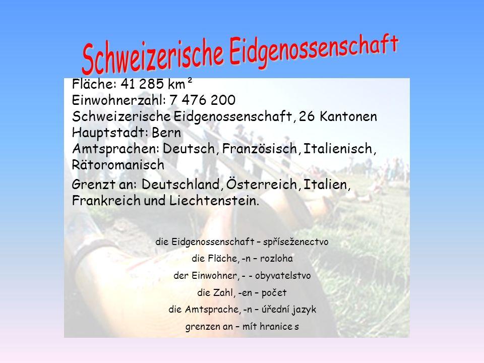 Fläche: 41 285 km² Einwohnerzahl: 7 476 200 Schweizerische Eidgenossenschaft, 26 Kantonen Hauptstadt: Bern Amtsprachen: Deutsch, Französisch, Italieni