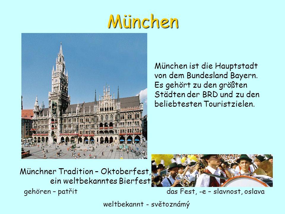 München München ist die Hauptstadt von dem Bundesland Bayern. Es gehört zu den größten Städten der BRD und zu den beliebtesten Touristzielen. Münchner