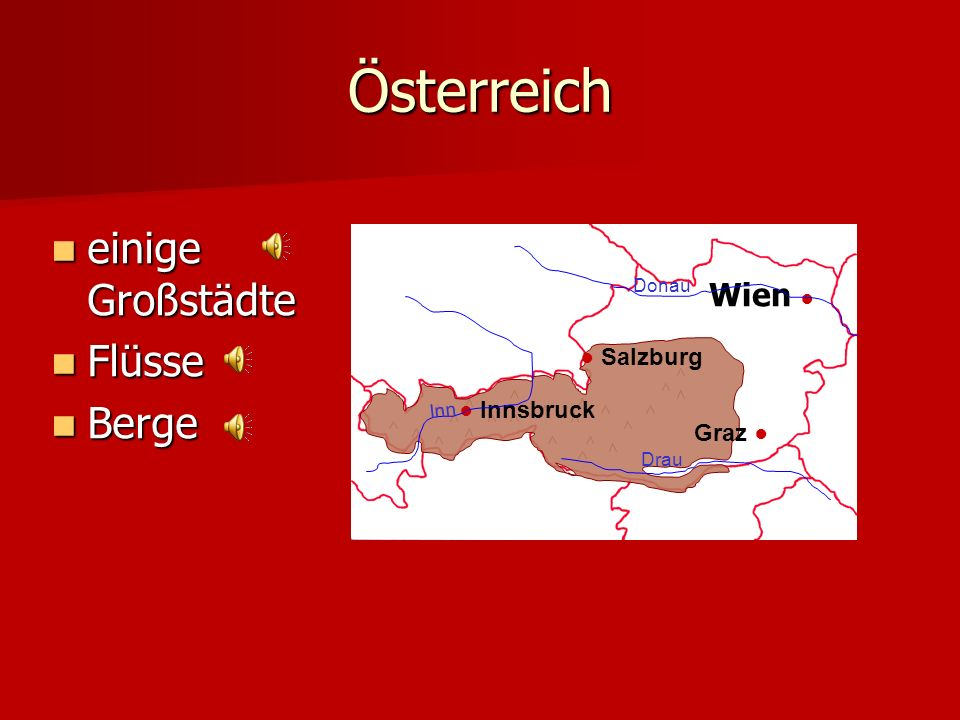 Österreich einige Großstädte einige Großstädte Flüsse Flüsse Berge Berge Wien Salzburg Innsbruck Graz Donau Inn Drau