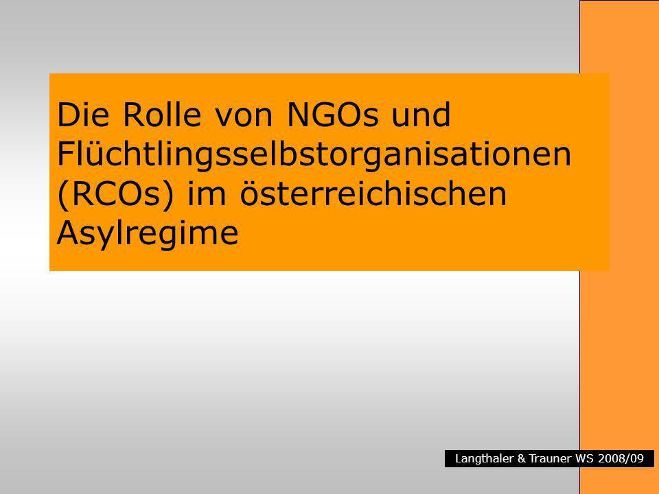 Langthaler & Trauner WS 2008/09 Die Rolle von NGOs und Flüchtlingsselbstorganisationen (RCOs) im österreichischen Asylregime