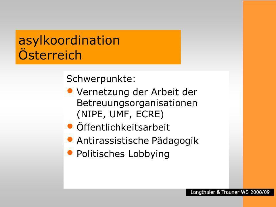 Langthaler & Trauner WS 2008/09 asylkoordination Österreich Schwerpunkte: Vernetzung der Arbeit der Betreuungsorganisationen (NIPE, UMF, ECRE) Öffentl