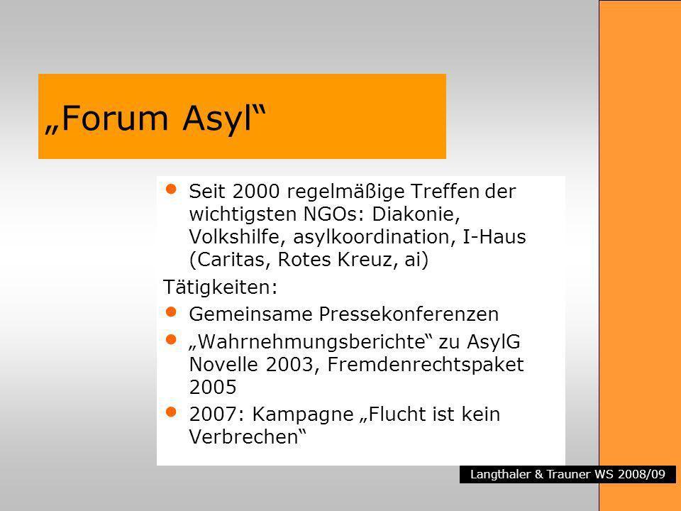 Langthaler & Trauner WS 2008/09 Forum Asyl Seit 2000 regelmäßige Treffen der wichtigsten NGOs: Diakonie, Volkshilfe, asylkoordination, I-Haus (Caritas