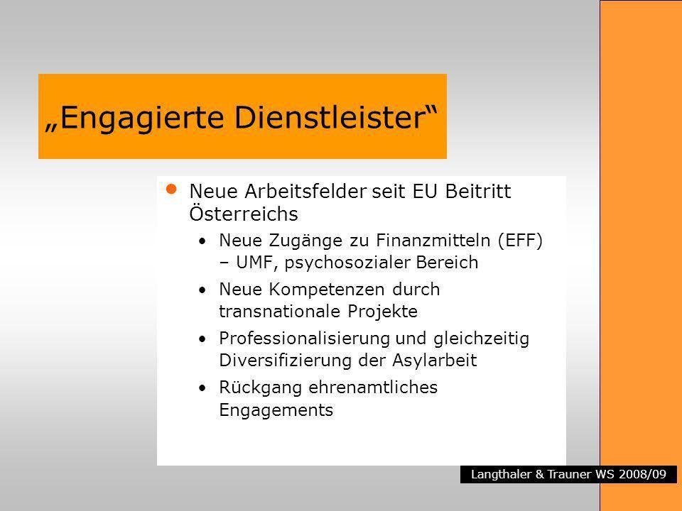 Langthaler & Trauner WS 2008/09 Engagierte Dienstleister Neue Arbeitsfelder seit EU Beitritt Österreichs Neue Zugänge zu Finanzmitteln (EFF) – UMF, ps
